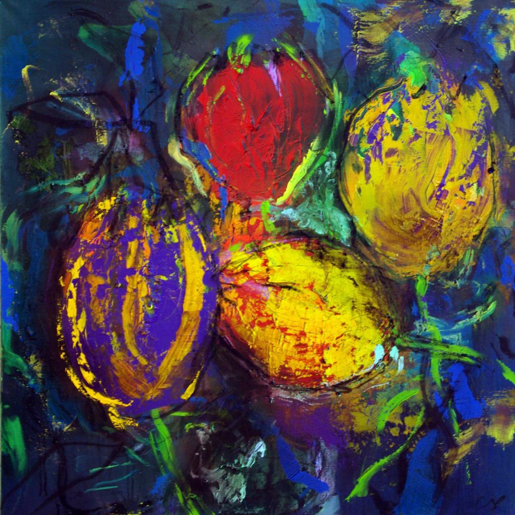 4 tulipes2007  technique mixte sur toile 100/100 cm