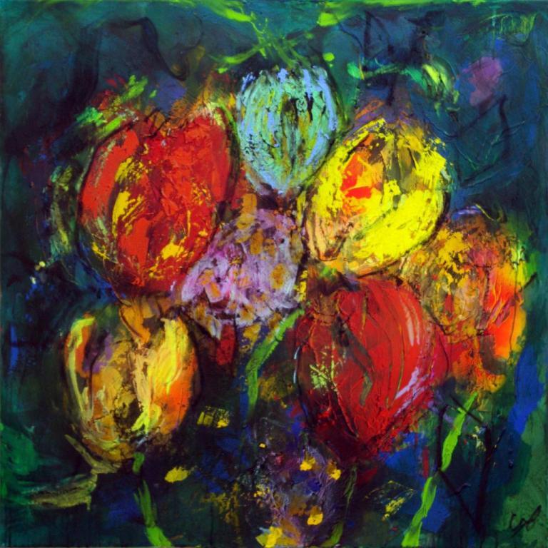 6 tulipes2007  technique mixte sur toile 100/100 cm