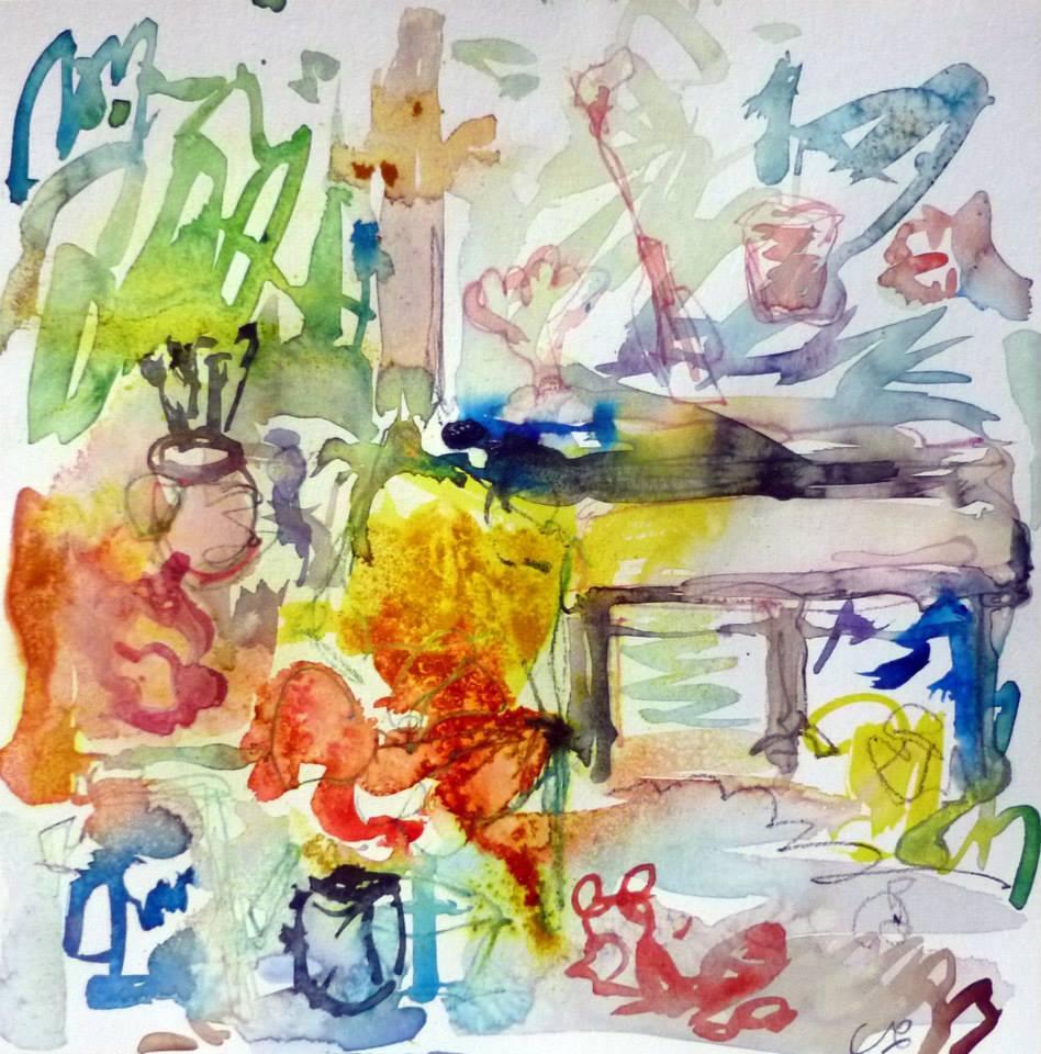 Piano 1 peinture sur papier 2014 30:30 cm