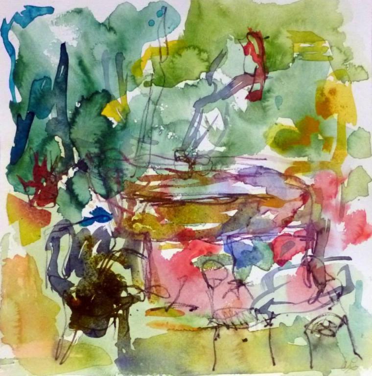 Piano 10 peinture sur papier 2014 30:30 cm