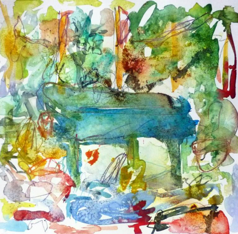 Piano 4 peinture sur papier 2014 30:30 cm