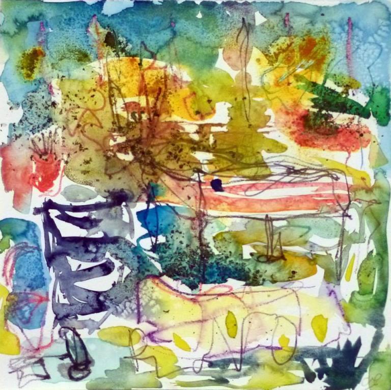 Piano 9 peinture sur papier 2014 30:30 cm