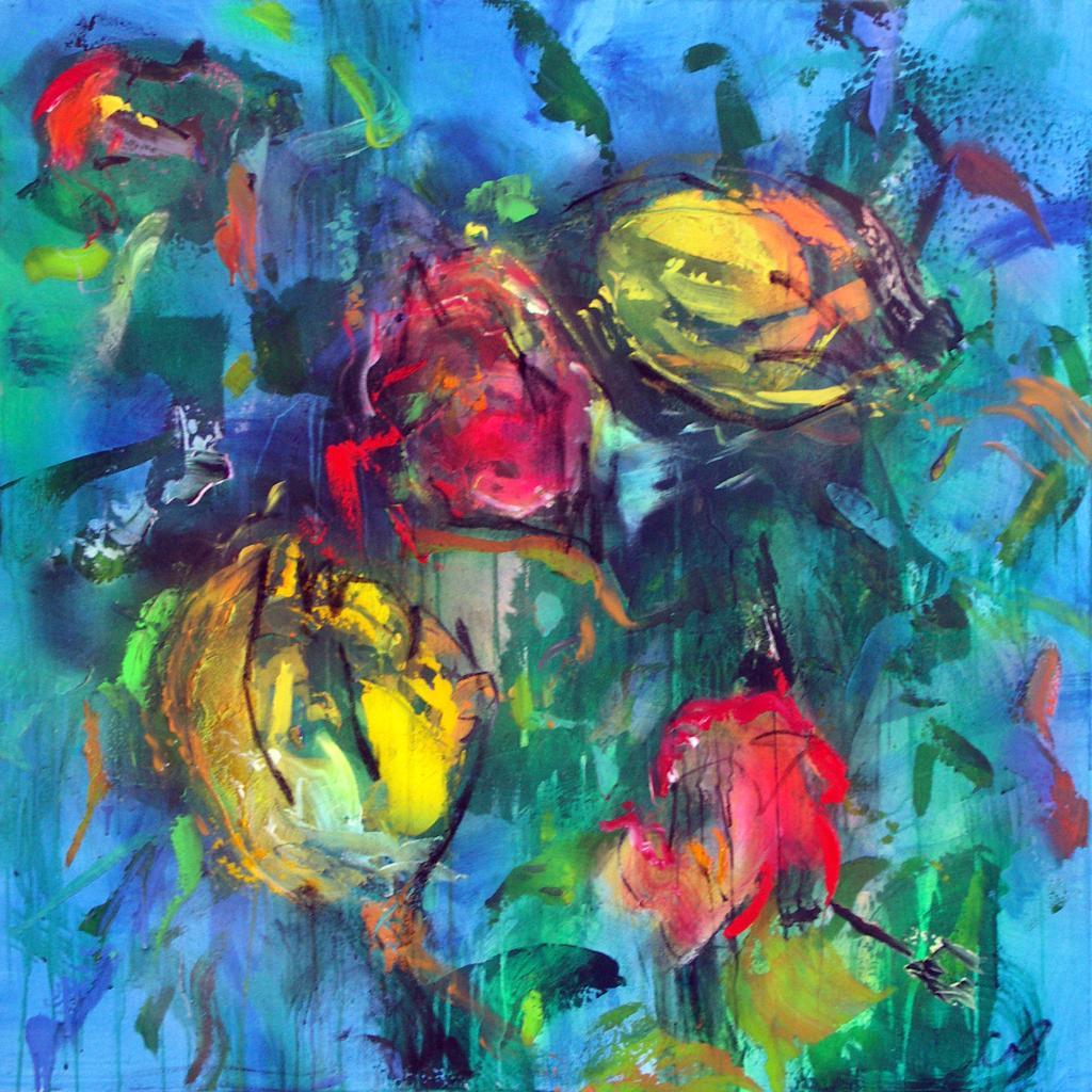 tulipe3  technique mixte sur toile 100/100 cm