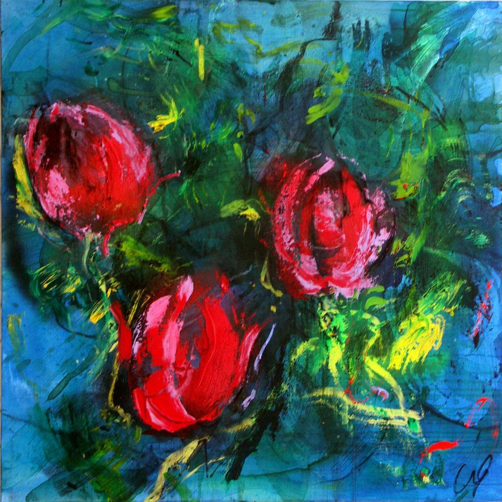 tulipes 15  technique mixte sur toile 100/100 cm
