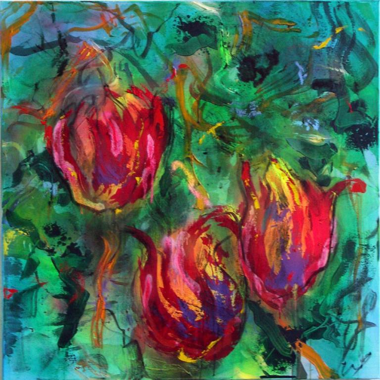 tulipes 20   technique mixte sur toile 100/100 cm