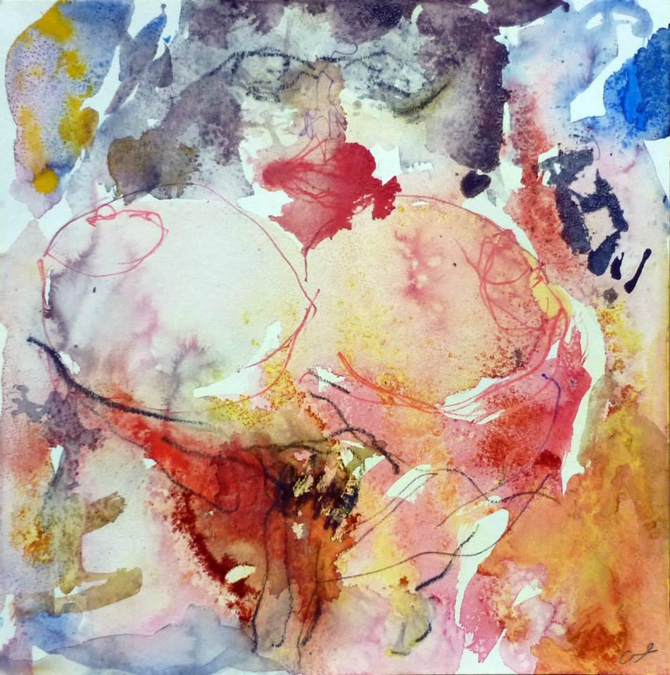aquarelle, épices etc. sur papier 30/30 cm