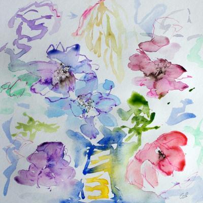 Anémones Aquarelles sur papier 30/30 cm