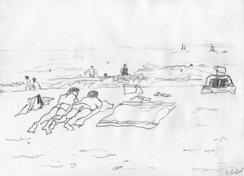 Ile d'Oléron croquis de plage 20/30 cm