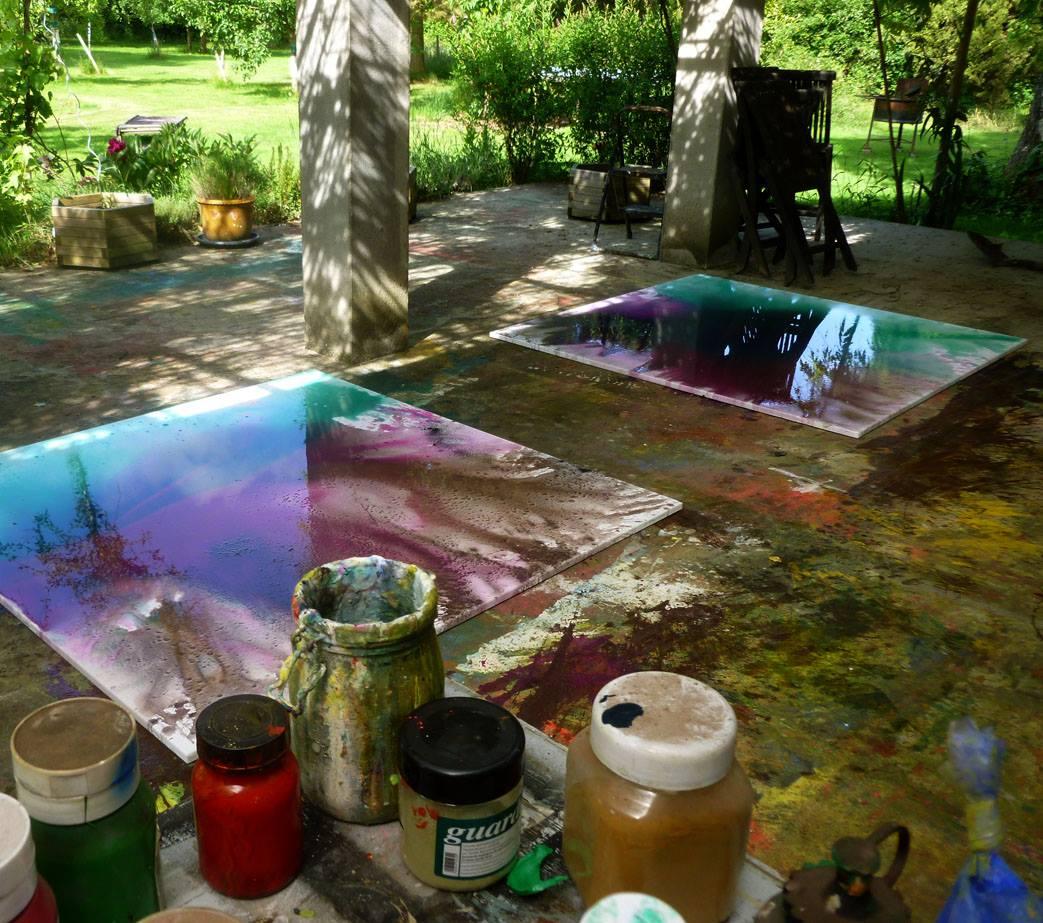 peinture dans le jardin