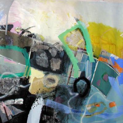 330/204 cm  technique mixte sur papier marouflé sur toile
