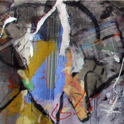 140/400 cm  technique mixte sur papier marouflé sur toile