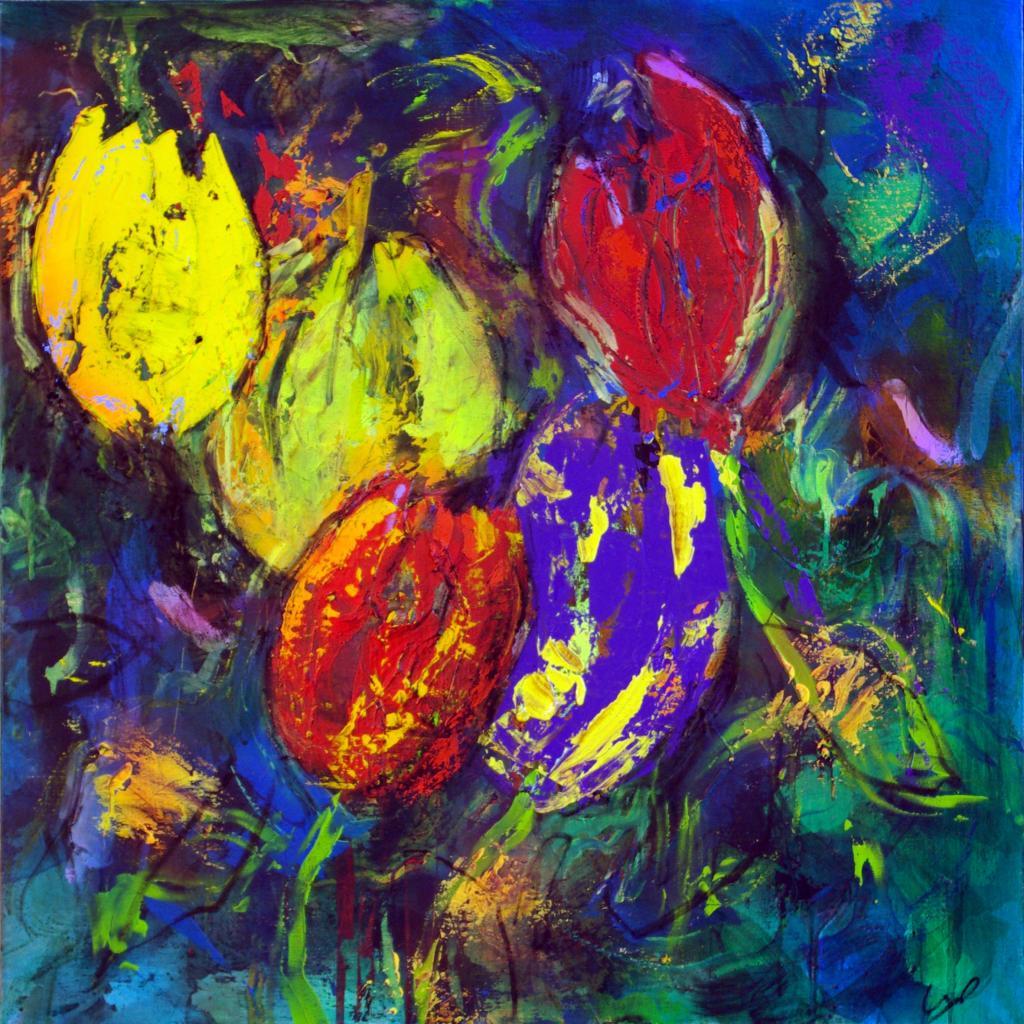 5 tulipes2007  technique mixte sur toile 100/100 cm