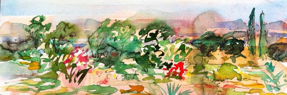 aquarelle, épices etc. sur papier 10/30 cm