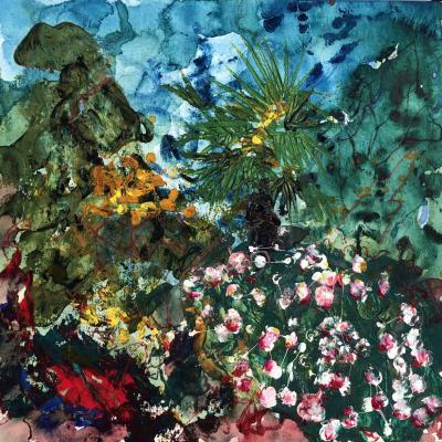 Jardin 10 juin 2 30/30 cm sur papier