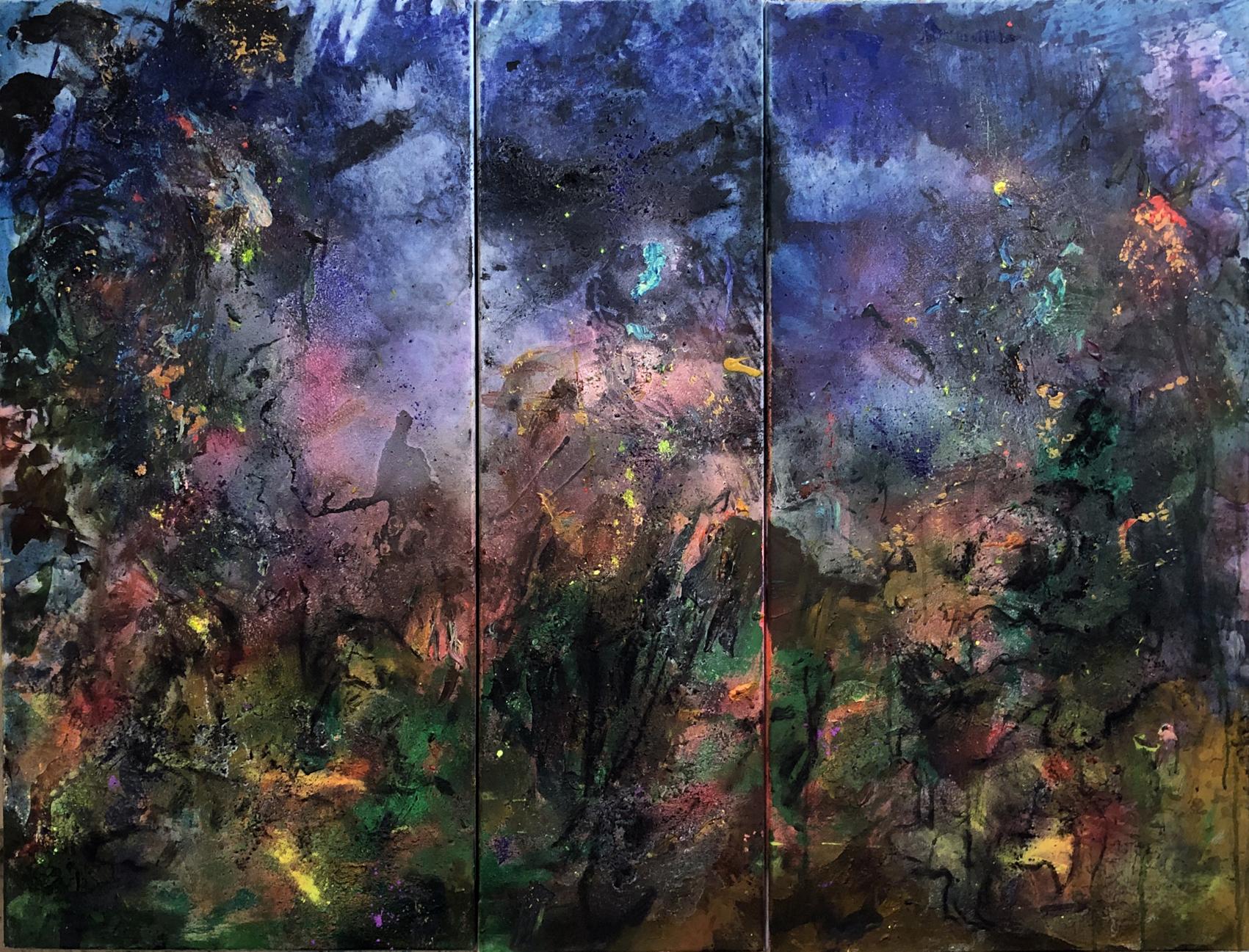 la nuit des étoiles  100/120 cm  triptyque