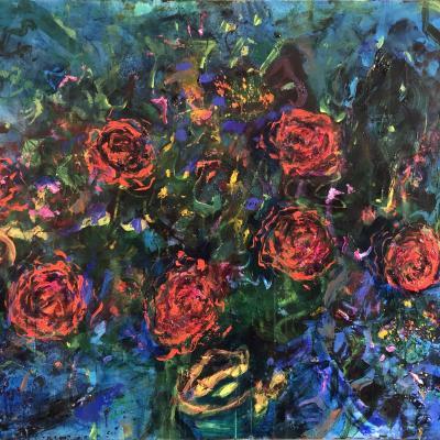 Les roses bleues   114/146 cm