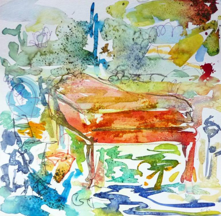 Piano 11 peinture sur papier 2014 30:30 cm