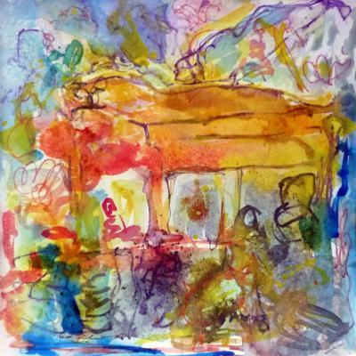 Piano 2 peinture sur papier 2014 30:30 cm