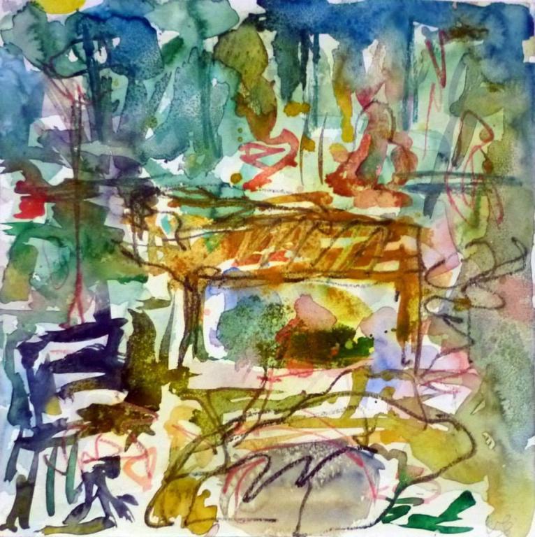 Piano 3 peinture sur papier 2014 30:30 cm