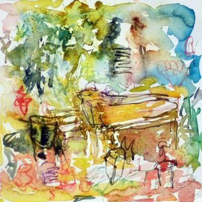 Piano 5 peinture sur papier 2014 30:30 cm