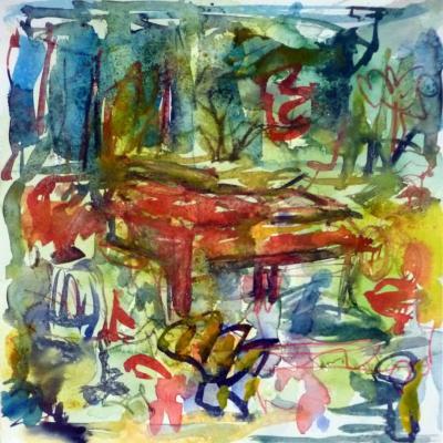 Piano 6 peinture sur papier 2014 30:30 cm