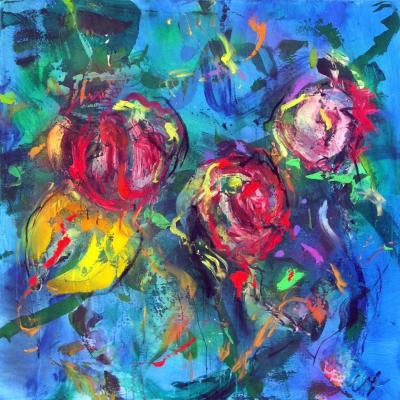 tulipe1  technique mixte sur toile 100/100 cm