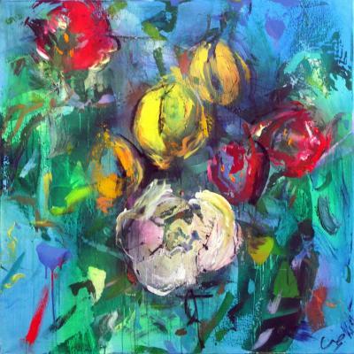 tulipe2  technique mixte sur toile 100/100 cm