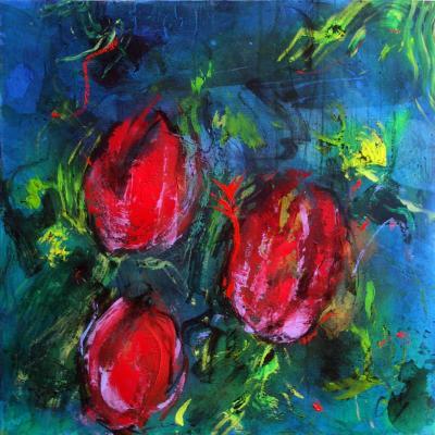 tulipes 16  technique mixte sur toile 100/100 cm