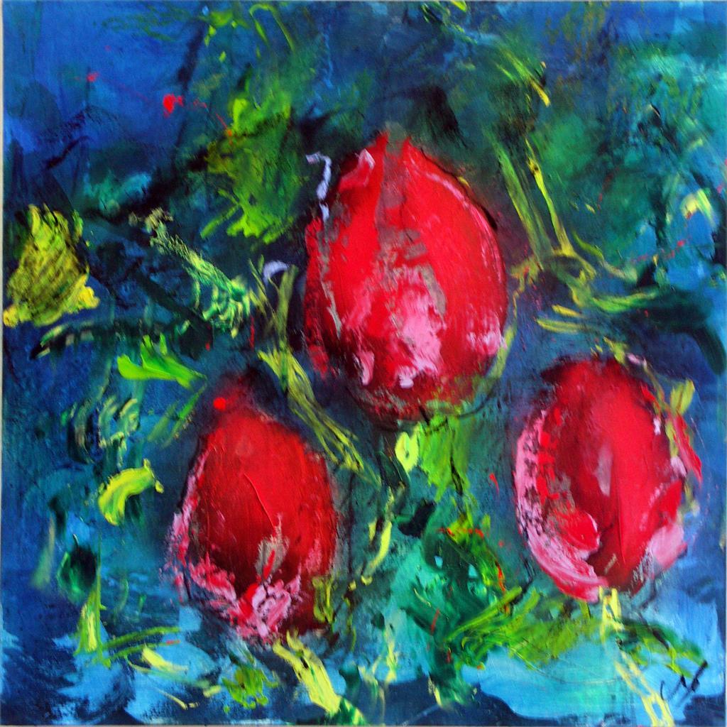 tulipes 17  technique mixte sur toile 100/100 cm