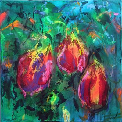 tulipes 21  technique mixte sur toile 100/100 cm