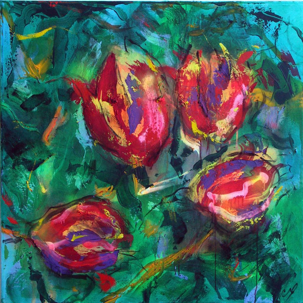 tulipes 22  technique mixte sur toile 100/100 cm