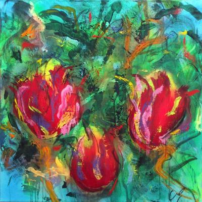 tulipes 23  technique mixte sur toile 100/100 cm