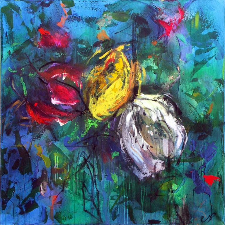 tulipes4     technique mixte sur toile 100/100 cm